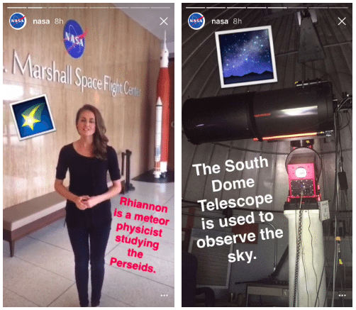 NASA Instagram Stories