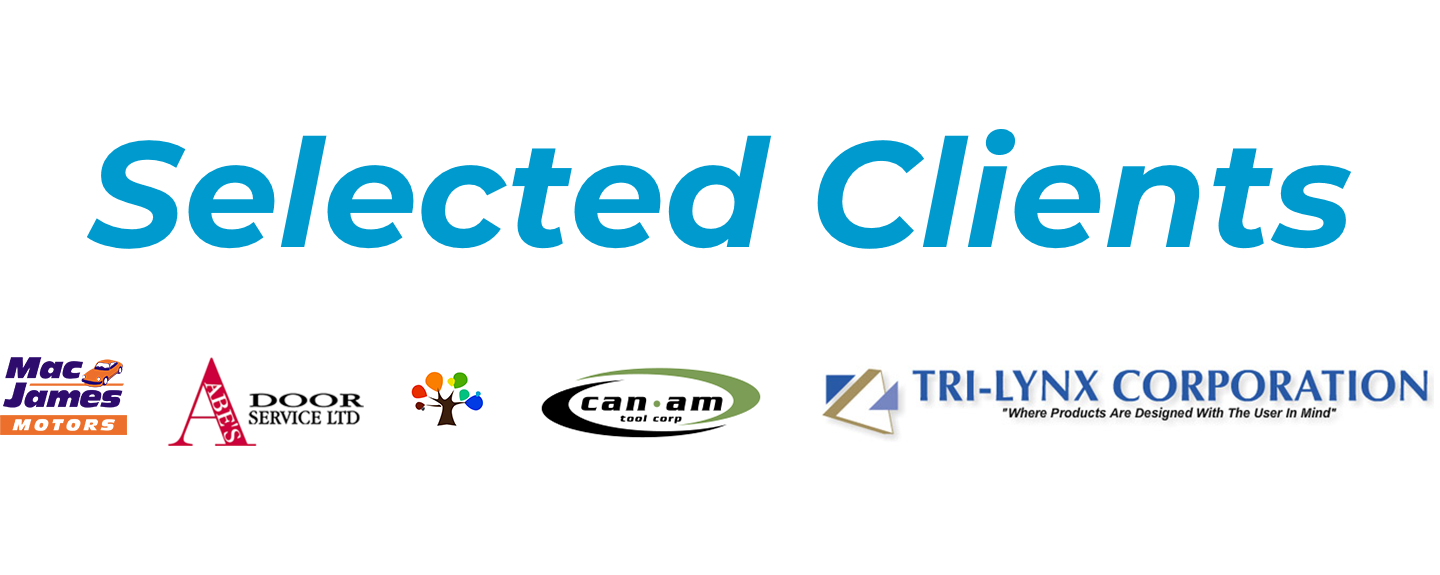 Logos of some of Social Lite's selected clients. Clients include: Mac James Motors, Abe's Door Services, Cadillac Coatics, CanAm Tool Corp, and Tri-Lynx Corporation.